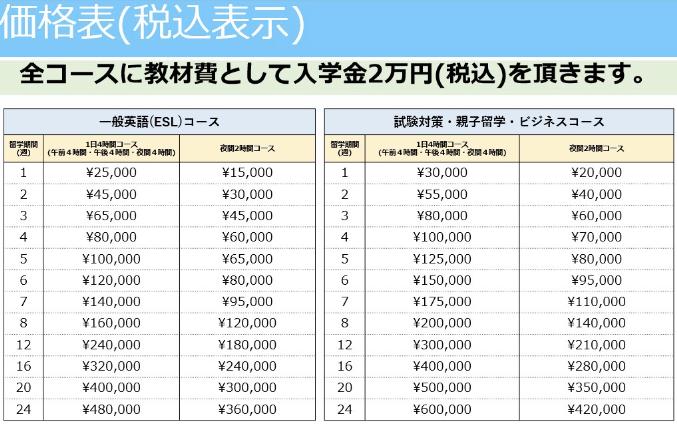オンライン留学 価格表