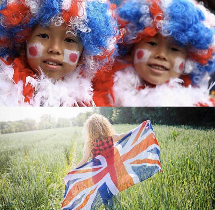 日本国旗とイギリス国旗と女の子